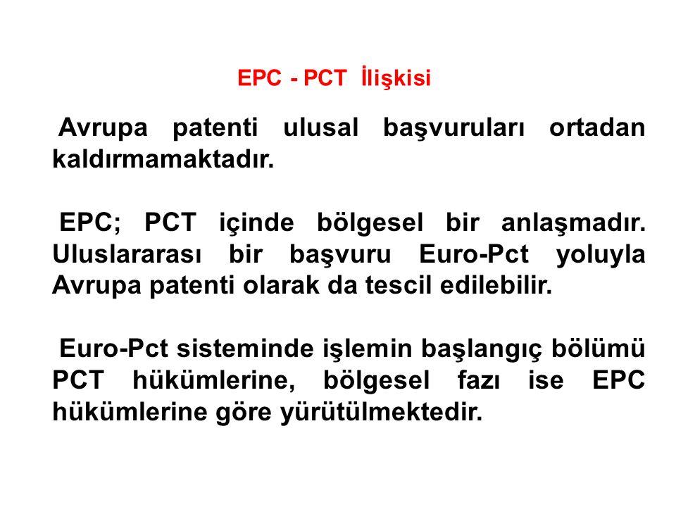 EPC - PCT İlişkisi Avrupa patenti ulusal başvuruları ortadan kaldırmamaktadır. EPC; PCT içinde bölgesel bir anlaşmadır. Uluslararası bir başvuru Euro-