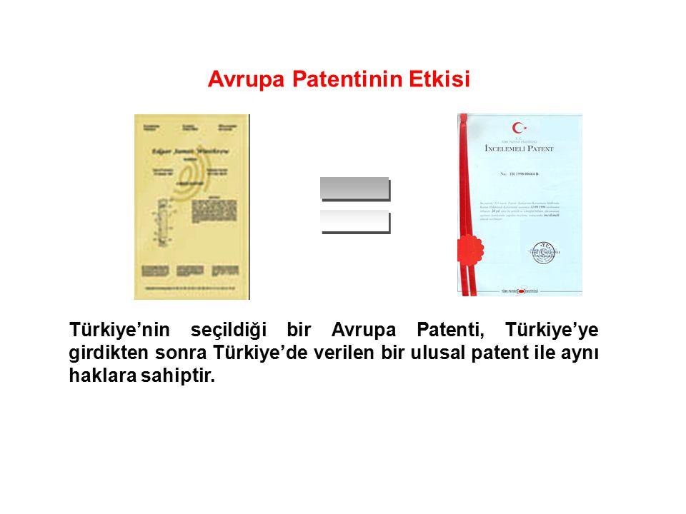 Türkiye'nin seçildiği bir Avrupa Patenti, Türkiye'ye girdikten sonra Türkiye'de verilen bir ulusal patent ile aynı haklara sahiptir. Avrupa Patentinin