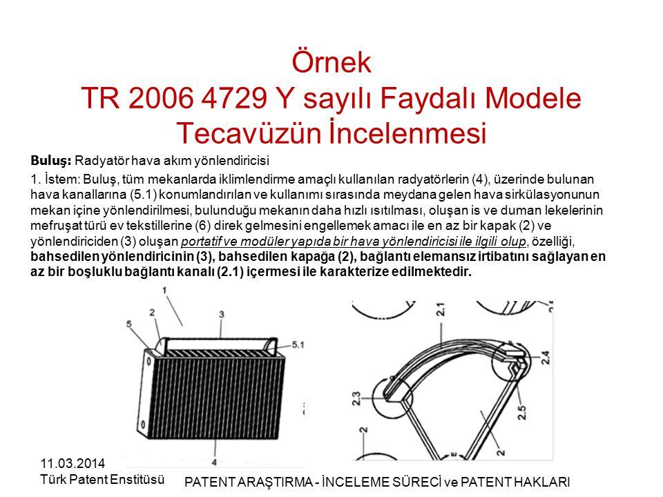 Örnek TR 2006 4729 Y sayılı Faydalı Modele Tecavüzün İncelenmesi Buluş: Radyatör hava akım yönlendiricisi 1. İstem: Buluş, tüm mekanlarda iklimlendirm