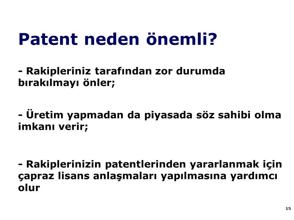 Patent neden önemli? 15 - Rakipleriniz tarafından zor durumda bırakılmayı önler; - Üretim yapmadan da piyasada söz sahibi olma imkanı verir; - Rakiple