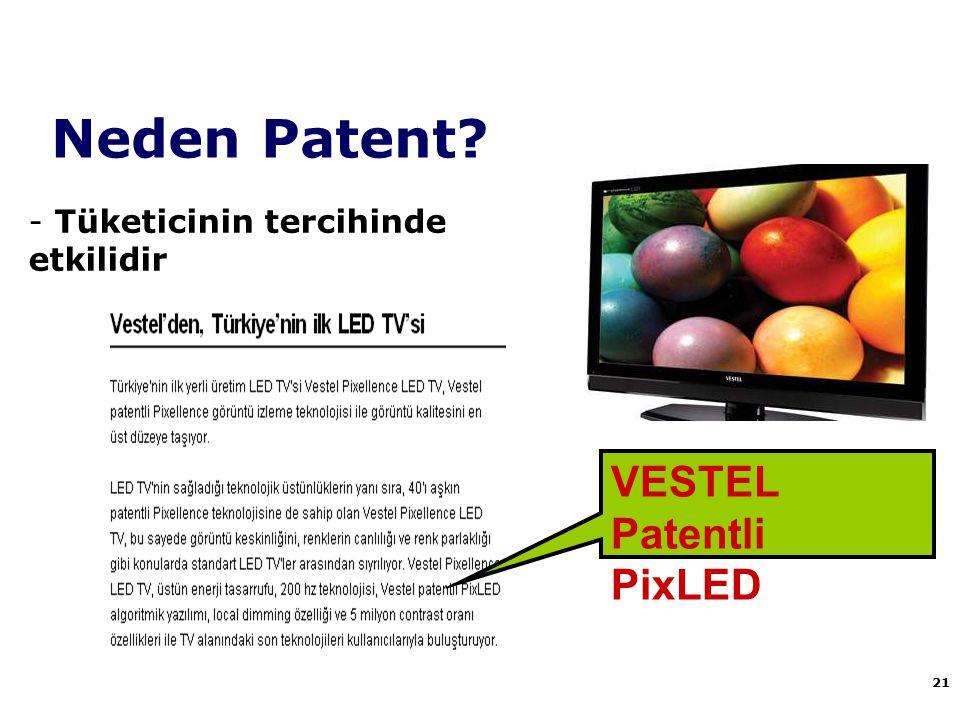 Neden Patent? 21 - Tüketicinin tercihinde etkilidir VESTEL Patentli PixLED
