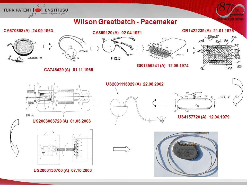 Wilson Greatbatch - Pacemaker CA670898 (A) 24.09.1963. CA745429 (A) 01.11.1966. CA869120 (A) 02.04.1971 GB1356341 (A) 12.06.1974 GB1422239 (A) 21.01.1