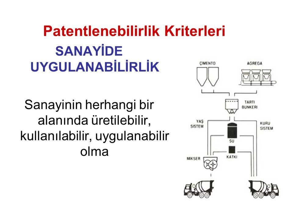 SANAYİDE UYGULANABİLİRLİK Sanayinin herhangi bir alanında üretilebilir, kullanılabilir, uygulanabilir olma Patentlenebilirlik Kriterleri