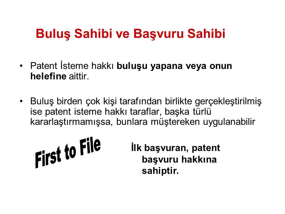 Patent İsteme hakkı buluşu yapana veya onun helefine aittir. Buluş birden çok kişi tarafından birlikte gerçekleştirilmiş ise patent isteme hakkı taraf
