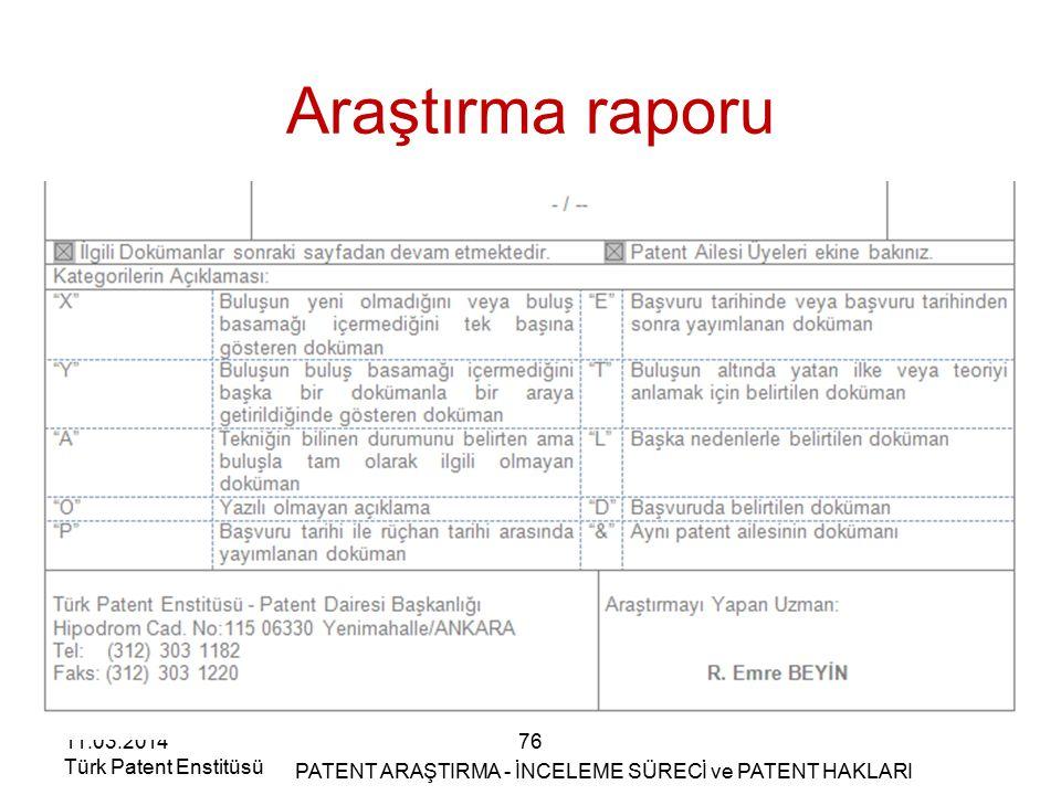 11.03.2014 Türk Patent Enstitüsü Araştırma raporu 76 PATENT ARAŞTIRMA - İNCELEME SÜRECİ ve PATENT HAKLARI