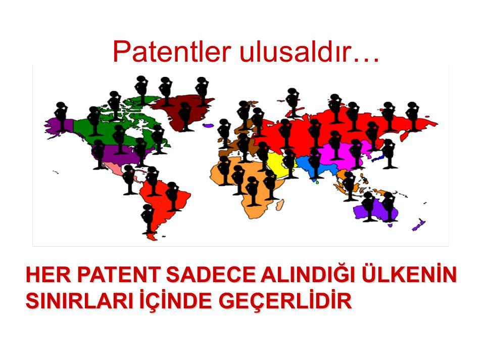 Patentler ulusaldır… HER PATENT SADECE ALINDIĞI ÜLKENİN SINIRLARI İÇİNDE GEÇERLİDİR