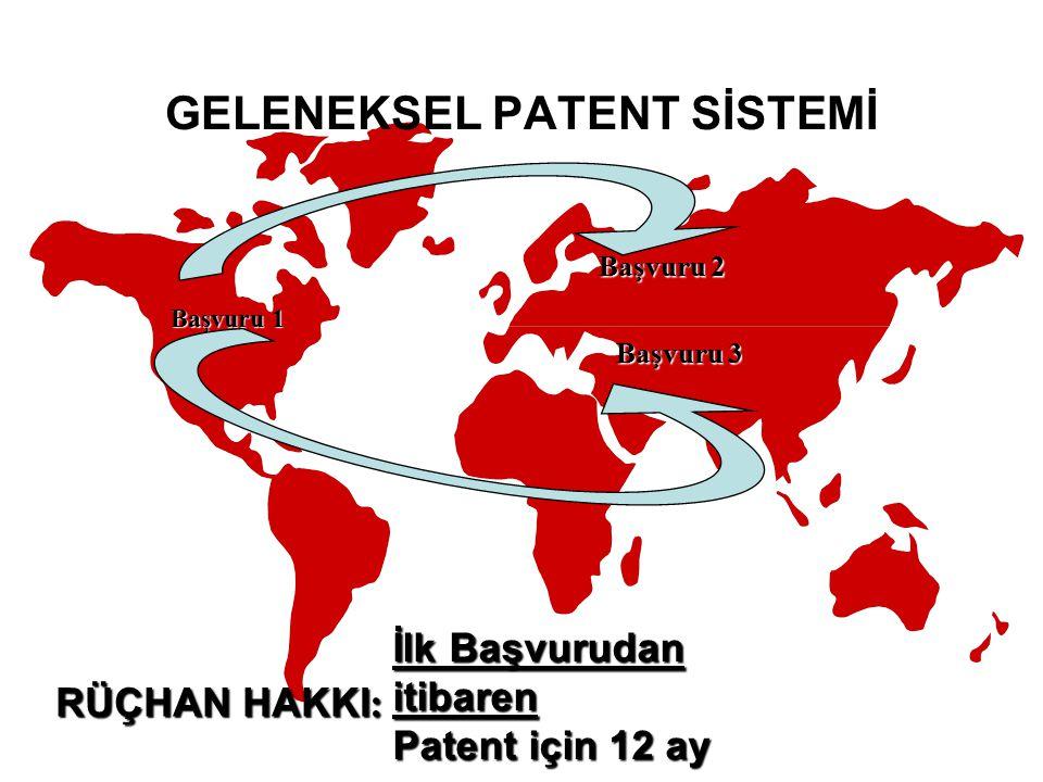Başvuru 1 Başvuru 3 Başvuru 2 İlk Başvurudan itibaren Patent için 12 ay RÜÇHAN HAKKI : GELENEKSEL PATENT SİSTEMİ