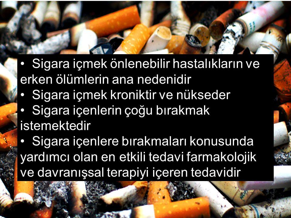 Sigara içmek önlenebilir hastalıkların ve erken ölümlerin ana nedenidir Sigara içmek kroniktir ve nükseder Sigara içenlerin çoğu bırakmak istemektedir