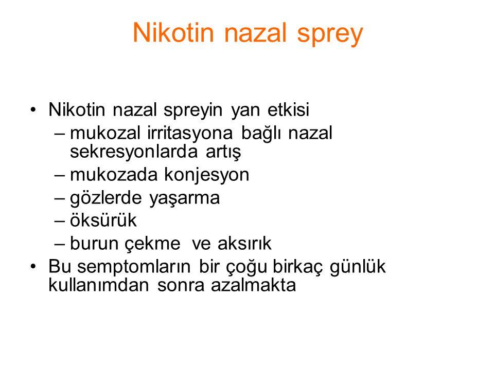 Nikotin nazal spreyin yan etkisi –mukozal irritasyona bağlı nazal sekresyonlarda artış –mukozada konjesyon –gözlerde yaşarma –öksürük –burun çekme ve