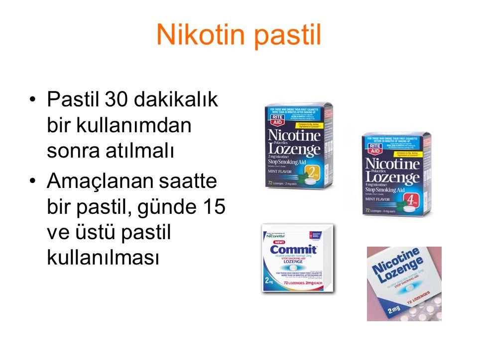 Nikotin pastil Pastil 30 dakikalık bir kullanımdan sonra atılmalı Amaçlanan saatte bir pastil, günde 15 ve üstü pastil kullanılması