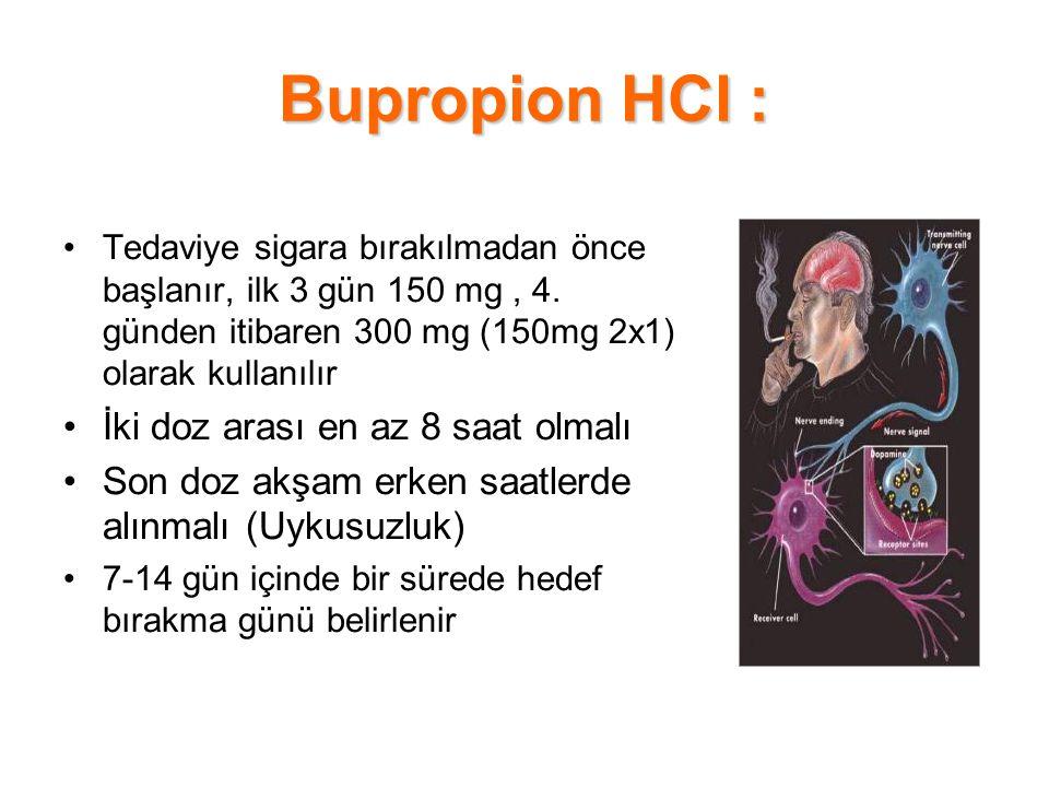 Bupropion HCl : Tedaviye sigara bırakılmadan önce başlanır, ilk 3 gün 150 mg, 4. günden itibaren 300 mg (150mg 2x1) olarak kullanılır İki doz arası en