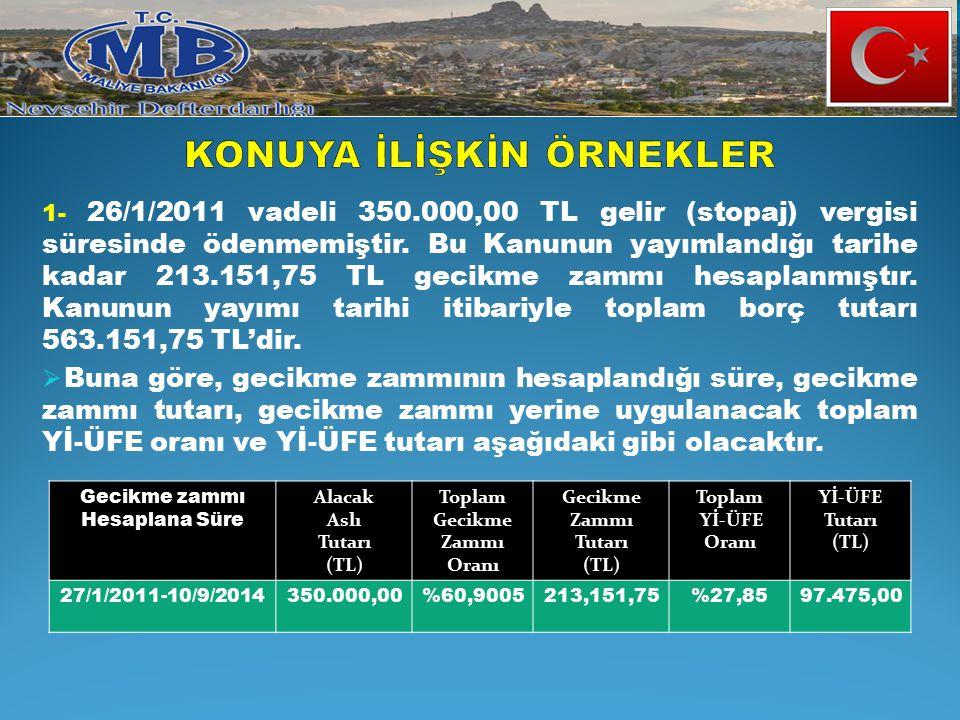 1- 26/1/2011 vadeli 350.000,00 TL gelir (stopaj) vergisi süresinde ödenmemiştir. Bu Kanunun yayımlandığı tarihe kadar 213.151,75 TL gecikme zammı hesa