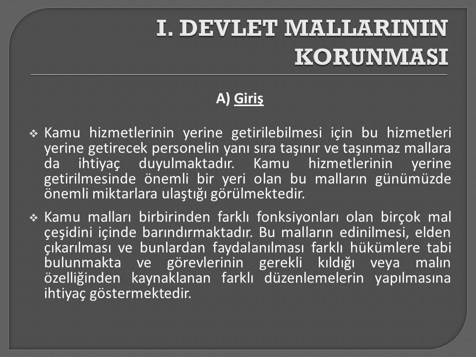 A) Giriş  Medeni Kanun un 715 inci maddesinde, Sahipsiz yerler ile yararı kamuya ait mallar, Devletin hüküm ve tasarrufu altındadır.