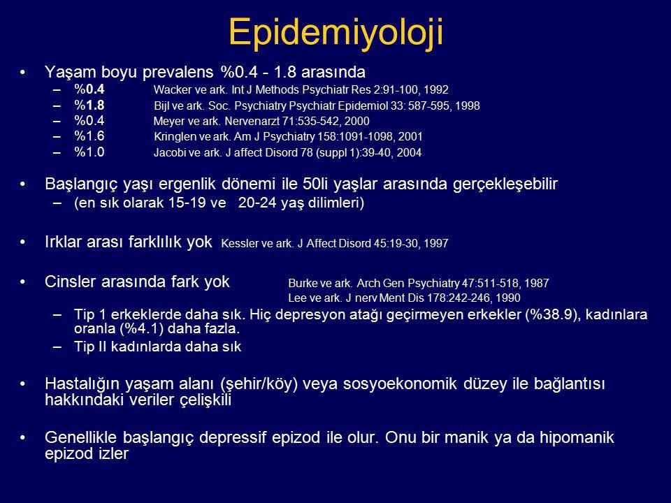 Epidemiyoloji Yaşam boyu prevalens %0.4 - 1.8 arasında –%0.4 Wacker ve ark. Int J Methods Psychiatr Res 2:91-100, 1992 –%1.8 Bijl ve ark. Soc. Psychia