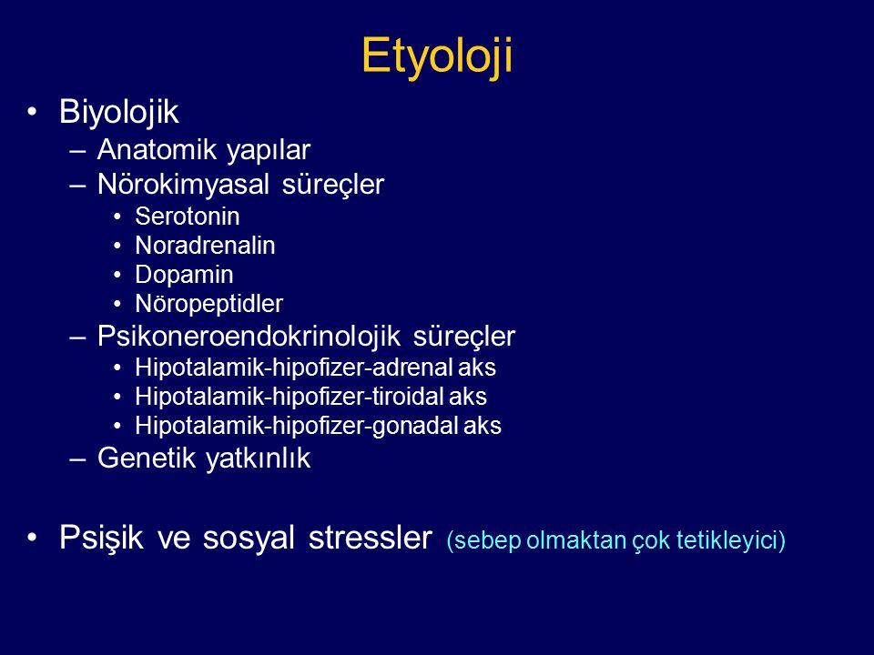 Etyoloji Biyolojik –Anatomik yapılar –Nörokimyasal süreçler Serotonin Noradrenalin Dopamin Nöropeptidler –Psikoneroendokrinolojik süreçler Hipotalamik