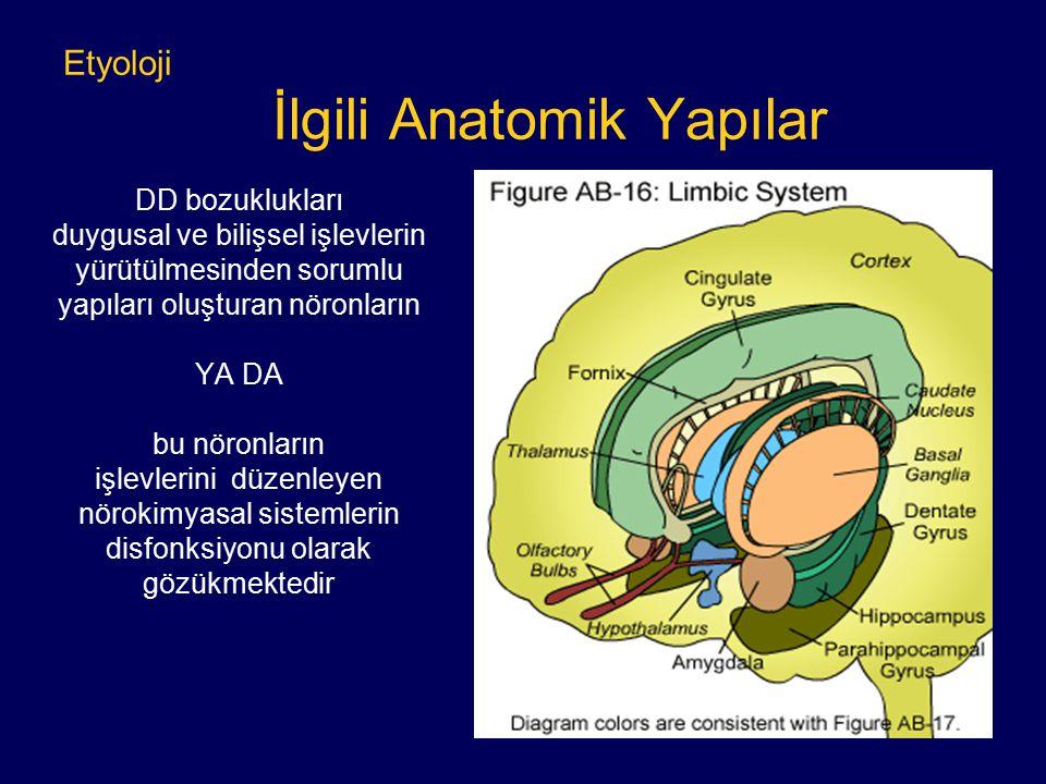 Etyoloji İlgili Anatomik Yapılar DD bozuklukları duygusal ve bilişsel işlevlerin yürütülmesinden sorumlu yapıları oluşturan nöronların YA DA bu nöronl