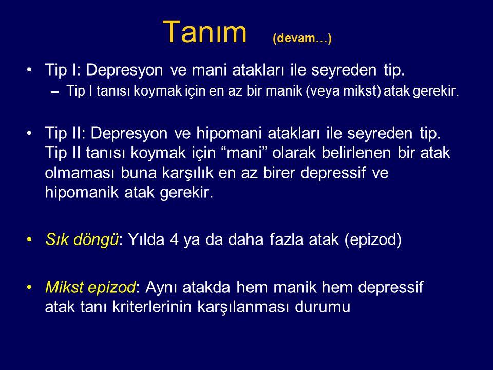 Tanım (devam…) Tip I: Depresyon ve mani atakları ile seyreden tip. –Tip I tanısı koymak için en az bir manik (veya mikst) atak gerekir. Tip II: Depres