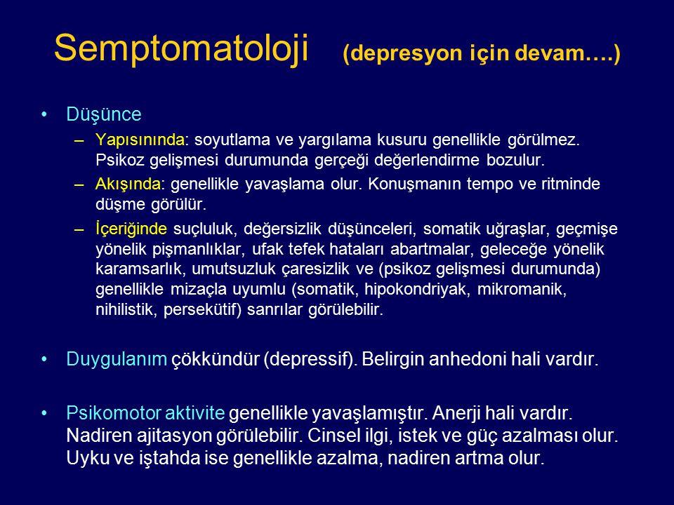 Semptomatoloji (depresyon için devam….) Düşünce –Yapısınında: soyutlama ve yargılama kusuru genellikle görülmez. Psikoz gelişmesi durumunda gerçeği de