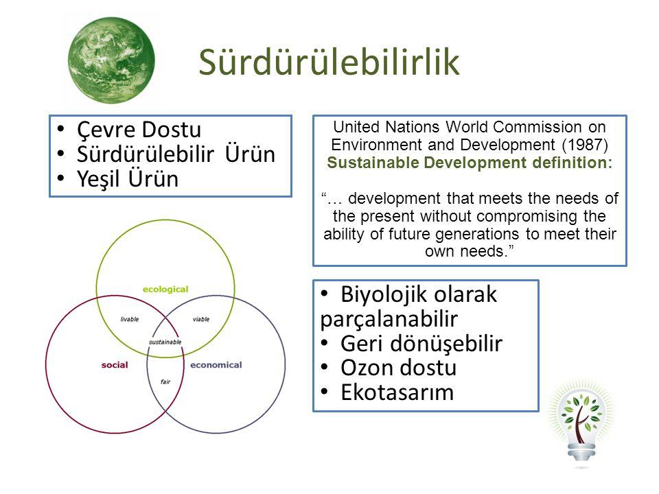 "Sürdürülebilirlik United Nations World Commission on Environment and Development (1987) Sustainable Development definition: ""… development that meets"