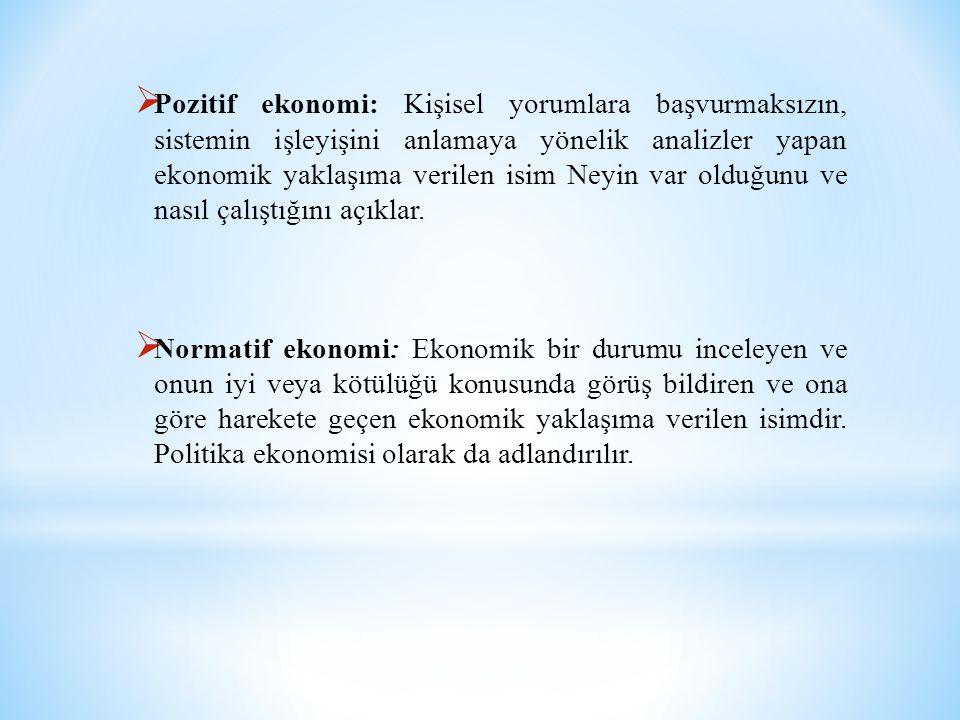  Pozitif ekonomi: Kişisel yorumlara başvurmaksızın, sistemin işleyişini anlamaya yönelik analizler yapan ekonomik yaklaşıma verilen isim Neyin var ol