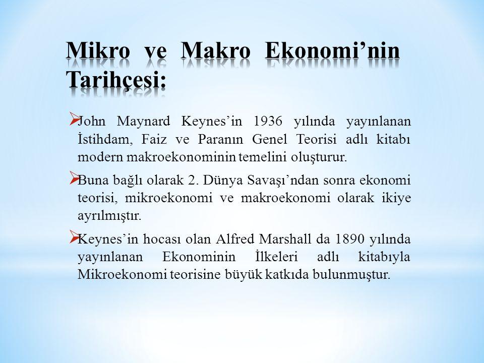  John Maynard Keynes'in 1936 yılında yayınlanan İstihdam, Faiz ve Paranın Genel Teorisi adlı kitabı modern makroekonominin temelini oluşturur.  Buna