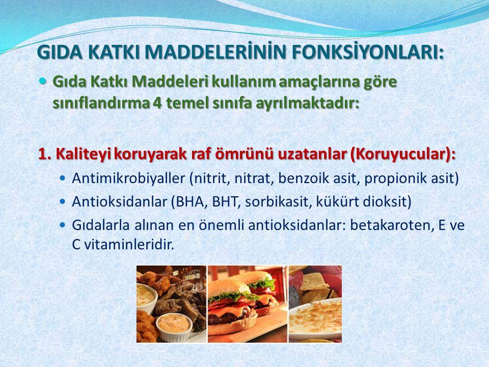Gıda Katkı Maddeleri kullanım amaçlarına göre sınıflandırma 4 temel sınıfa ayrılmaktadır: Gıda Katkı Maddeleri kullanım amaçlarına göre sınıflandırma