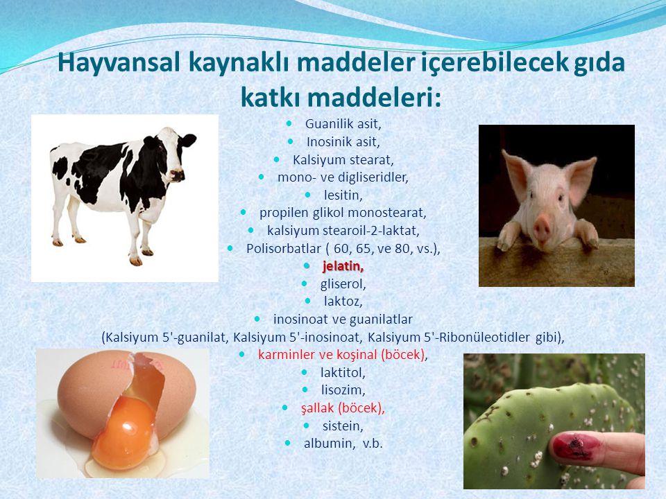 Hayvansal kaynaklı maddeler içerebilecek gıda katkı maddeleri: Guanilik asit, Inosinik asit, Kalsiyum stearat, mono- ve digliseridler, lesitin, propil
