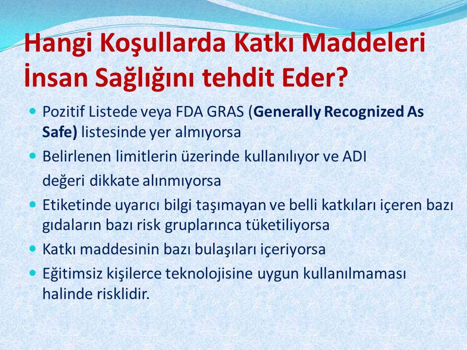 Hangi Koşullarda Katkı Maddeleri İnsan Sağlığını tehdit Eder? Pozitif Listede veya FDA GRAS (Generally Recognized As Safe) listesinde yer almıyorsa Be