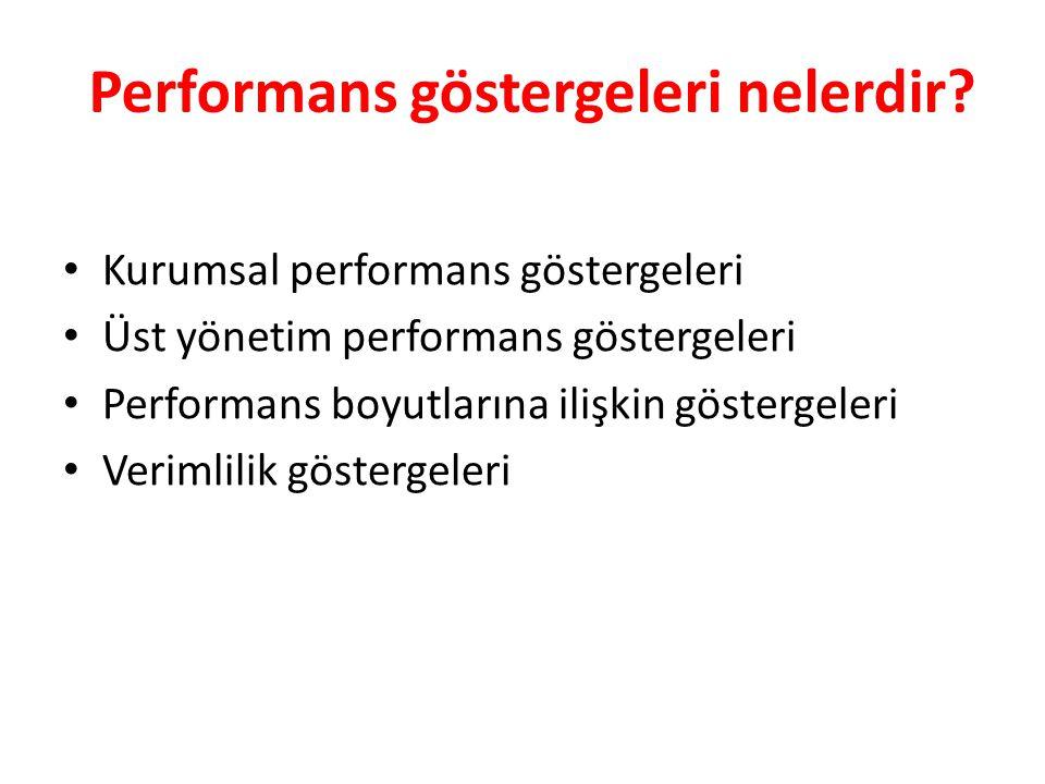 Performans göstergeleri nelerdir? Kurumsal performans göstergeleri Üst yönetim performans göstergeleri Performans boyutlarına ilişkin göstergeleri Ver
