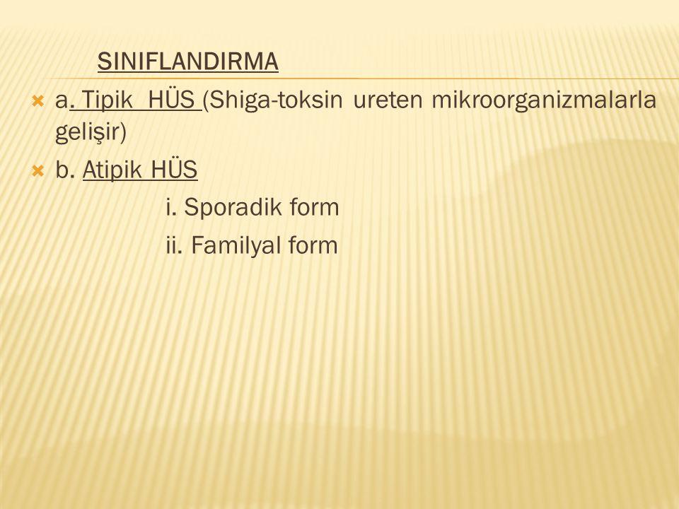 SINIFLANDIRMA  a. Tipik HÜS (Shiga-toksin ureten mikroorganizmalarla gelişir)  b. Atipik HÜS i. Sporadik form ii. Familyal form
