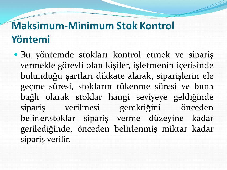 Maksimum-Minimum Stok Kontrol Yöntemi Bu yöntemde stokları kontrol etmek ve sipariş vermekle görevli olan kişiler, işletmenin içerisinde bulunduğu şar