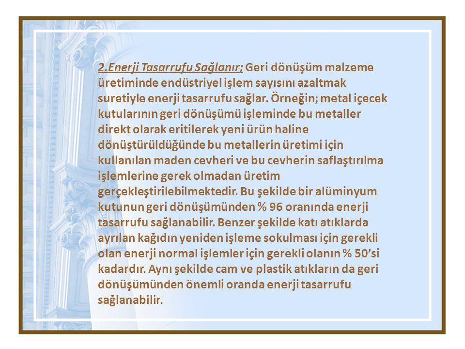 2.Enerji Tasarrufu Sağlanır; Geri dönüşüm malzeme üretiminde endüstriyel işlem sayısını azaltmak suretiyle enerji tasarrufu sağlar. Örneğin; metal içe