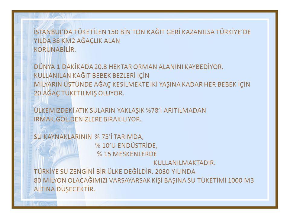 İSTANBUL'DA TÜKETİLEN 150 BİN TON KAĞIT GERİ KAZANILSA TÜRKİYE'DE YILDA 38 KM2 AĞAÇLIK ALAN KORUNABİLİR. DÜNYA 1 DAKİKADA 20,8 HEKTAR ORMAN ALANINI KA