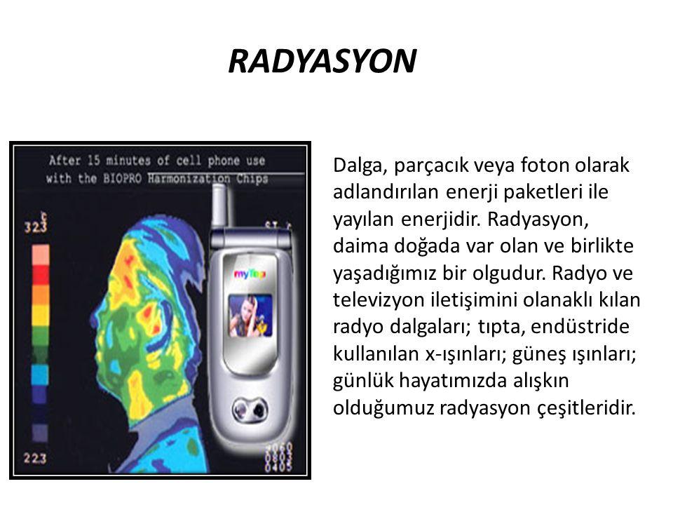 RADYASYON Dalga, parçacık veya foton olarak adlandırılan enerji paketleri ile yayılan enerjidir. Radyasyon, daima doğada var olan ve birlikte yaşadığı