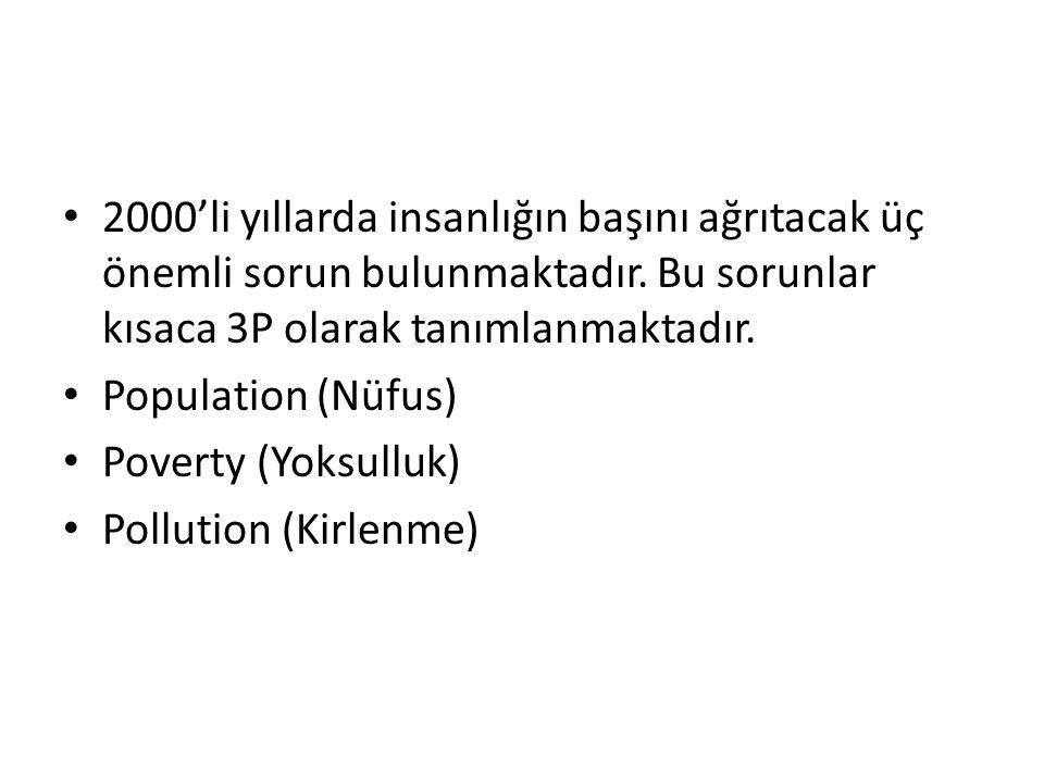 2000'li yıllarda insanlığın başını ağrıtacak üç önemli sorun bulunmaktadır. Bu sorunlar kısaca 3P olarak tanımlanmaktadır. Population (Nüfus) Poverty