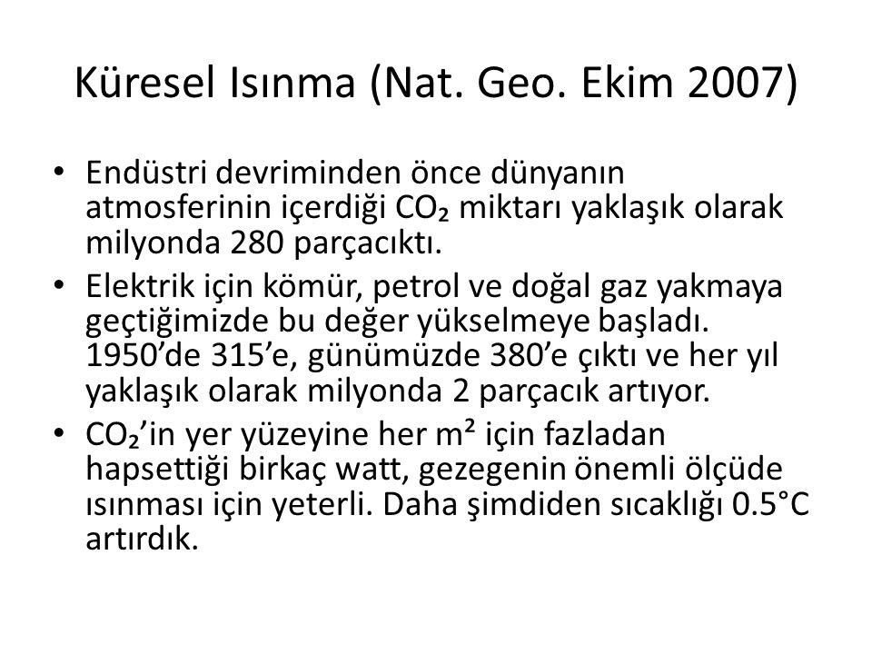 Küresel Isınma (Nat. Geo. Ekim 2007) Endüstri devriminden önce dünyanın atmosferinin içerdiği CO₂ miktarı yaklaşık olarak milyonda 280 parçacıktı. Ele