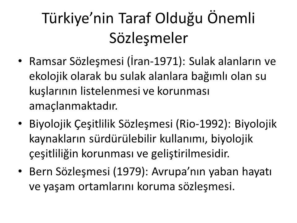 Türkiye'nin Taraf Olduğu Önemli Sözleşmeler Ramsar Sözleşmesi (İran-1971): Sulak alanların ve ekolojik olarak bu sulak alanlara bağımlı olan su kuşlar