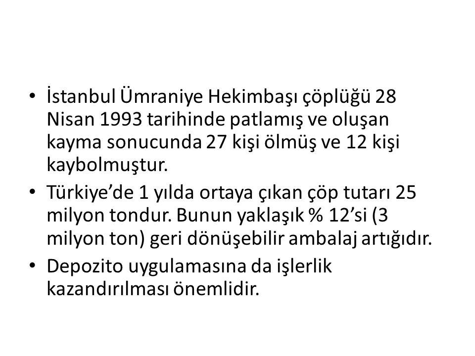 İstanbul Ümraniye Hekimbaşı çöplüğü 28 Nisan 1993 tarihinde patlamış ve oluşan kayma sonucunda 27 kişi ölmüş ve 12 kişi kaybolmuştur. Türkiye'de 1 yıl