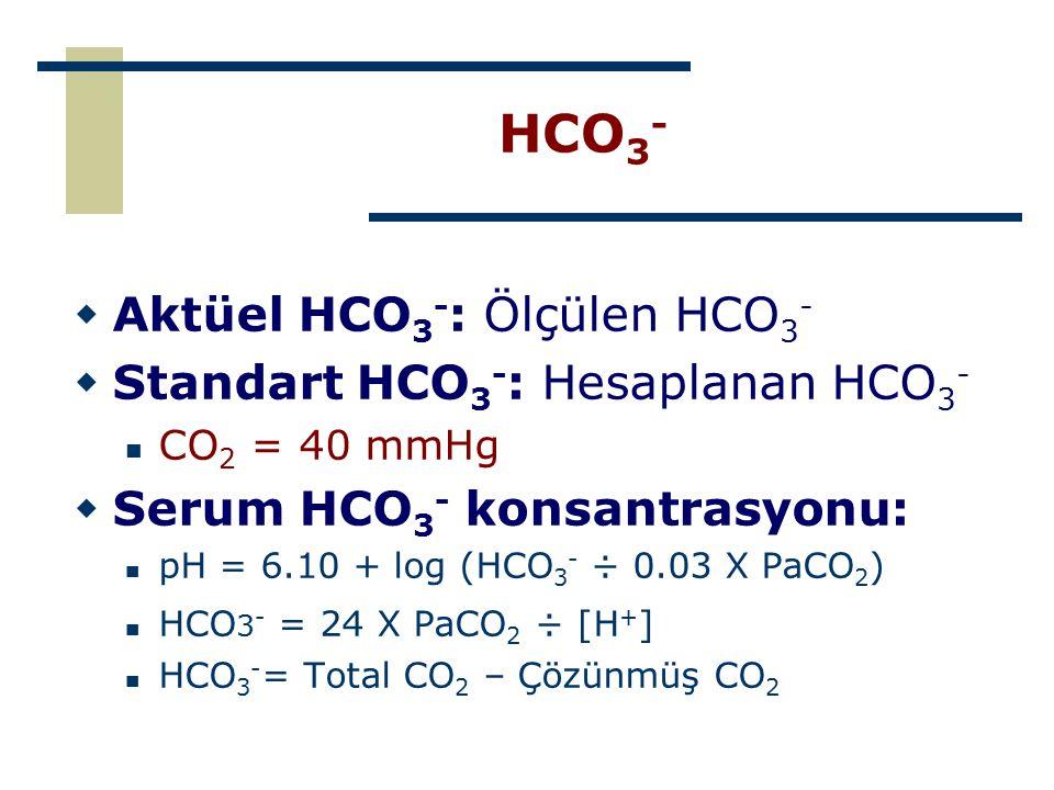 HCO 3 -  Aktüel HCO 3 - : Ölçülen HCO 3 -  Standart HCO 3 - : Hesaplanan HCO 3 - CO 2 = 40 mmHg  Serum HCO 3 - konsantrasyonu: pH = 6.10 + log (HCO