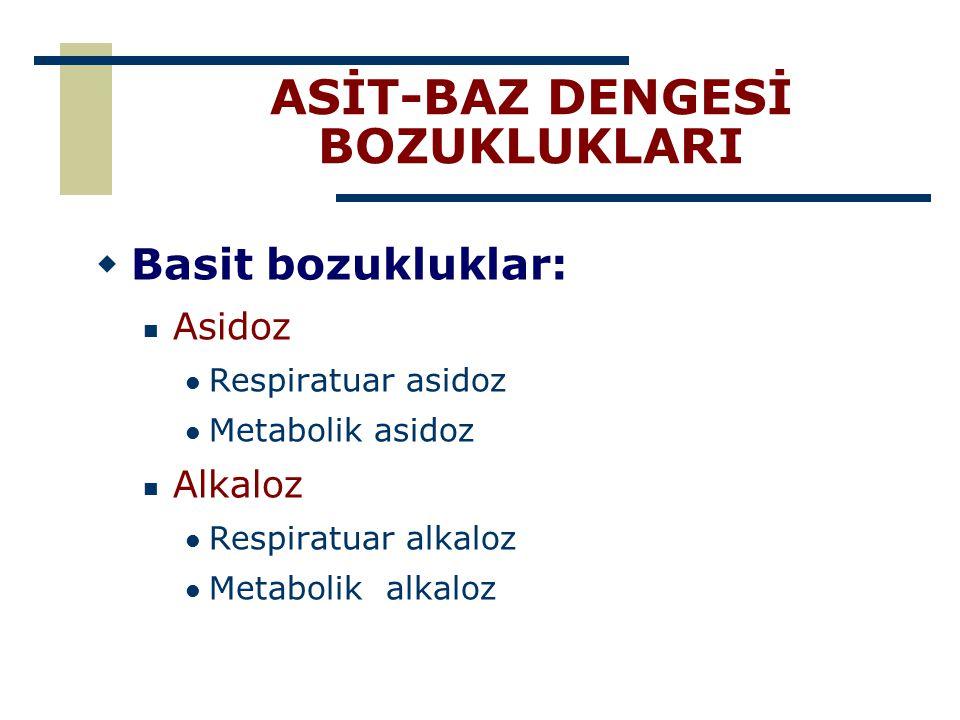 ASİT-BAZ DENGESİ BOZUKLUKLARI  Basit bozukluklar: Asidoz Respiratuar asidoz Metabolik asidoz Alkaloz Respiratuar alkaloz Metabolik alkaloz