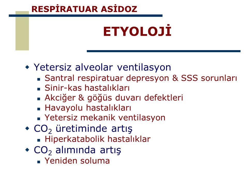 ETYOLOJİ  Yetersiz alveolar ventilasyon Santral respiratuar depresyon & SSS sorunları Sinir-kas hastalıkları Akciğer & göğüs duvarı defektleri Havayo