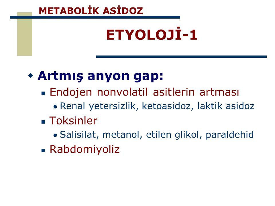 ETYOLOJİ-1  Artmış anyon gap: Endojen nonvolatil asitlerin artması Renal yetersizlik, ketoasidoz, laktik asidoz Toksinler Salisilat, metanol, etilen