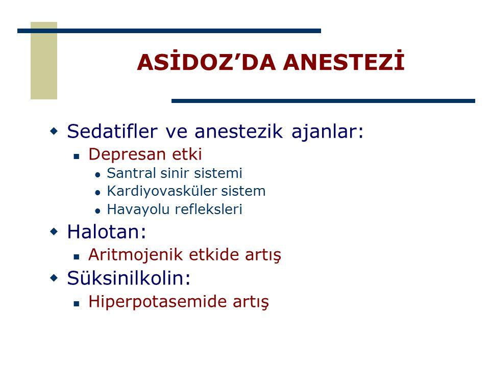 ASİDOZ'DA ANESTEZİ  Sedatifler ve anestezik ajanlar: Depresan etki Santral sinir sistemi Kardiyovasküler sistem Havayolu refleksleri  Halotan: Aritm