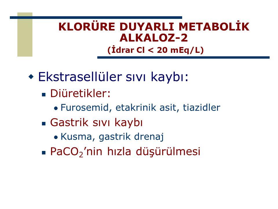 KLORÜRE DUYARLI METABOLİK ALKALOZ-2 (İdrar Cl < 20 mEq/L)  Ekstrasellüler sıvı kaybı: Diüretikler: Furosemid, etakrinik asit, tiazidler Gastrik sıvı