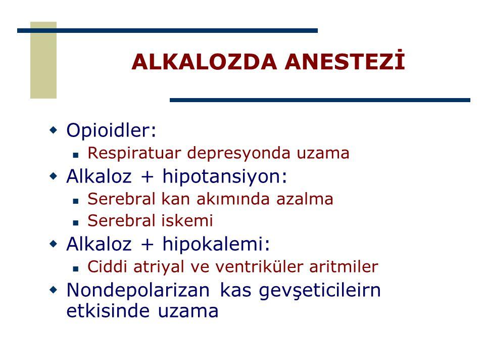 ALKALOZDA ANESTEZİ  Opioidler: Respiratuar depresyonda uzama  Alkaloz + hipotansiyon: Serebral kan akımında azalma Serebral iskemi  Alkaloz + hipok