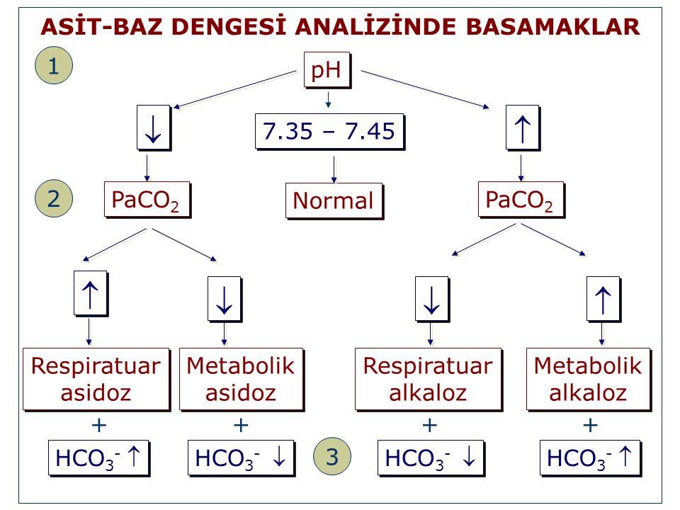 pH 7.35 – 7.45 Normal Metabolik asidoz Metabolik asidoz HCO 3 -  +   Respiratuar alkaloz Respiratuar alkaloz HCO 3 -  +   Respiratuar asidoz Res
