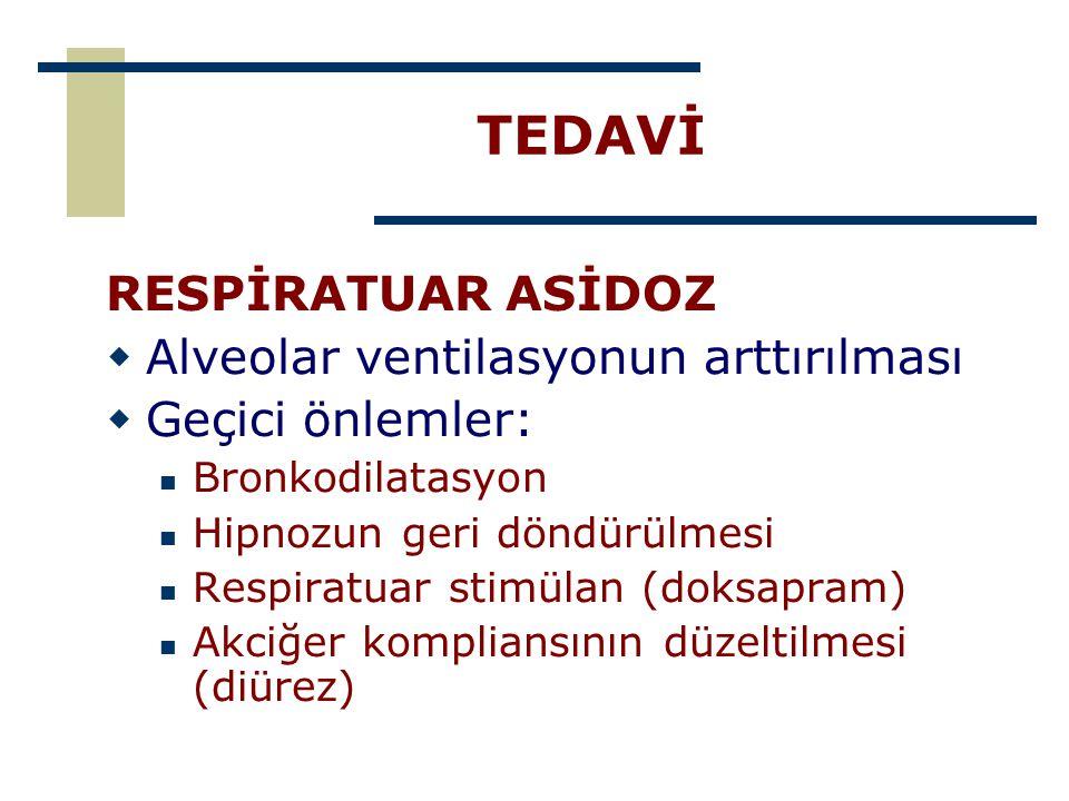 TEDAVİ RESPİRATUAR ASİDOZ  Alveolar ventilasyonun arttırılması  Geçici önlemler: Bronkodilatasyon Hipnozun geri döndürülmesi Respiratuar stimülan (d
