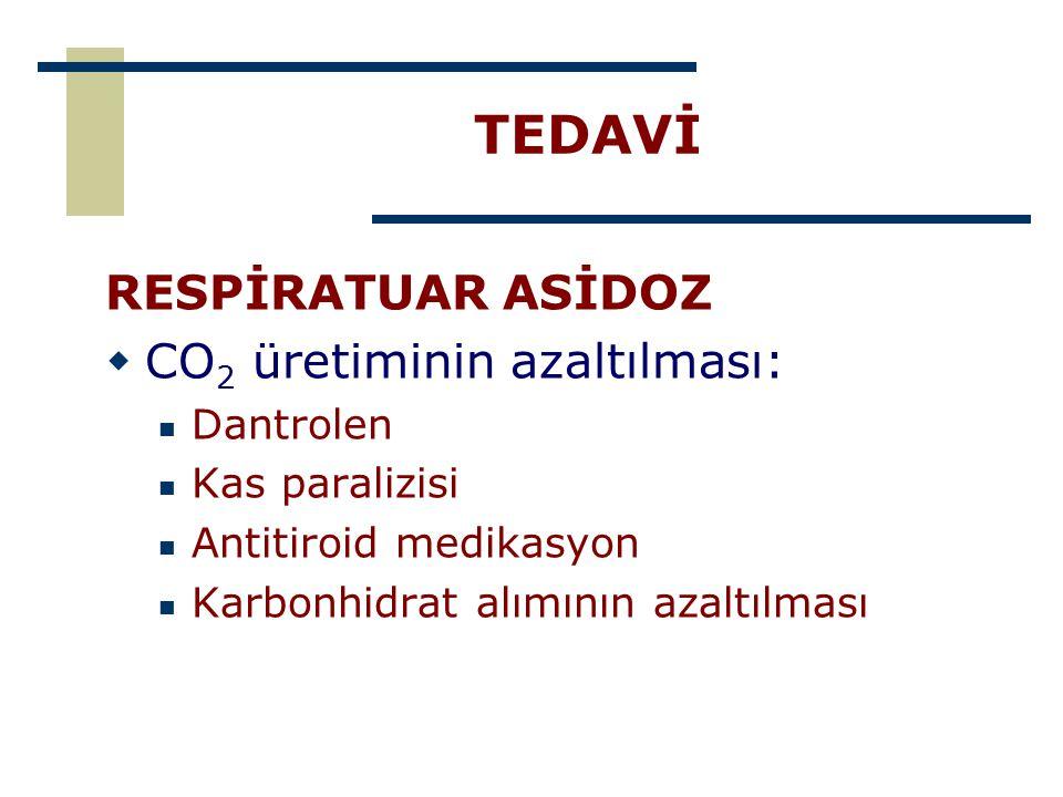 TEDAVİ RESPİRATUAR ASİDOZ  CO 2 üretiminin azaltılması: Dantrolen Kas paralizisi Antitiroid medikasyon Karbonhidrat alımının azaltılması