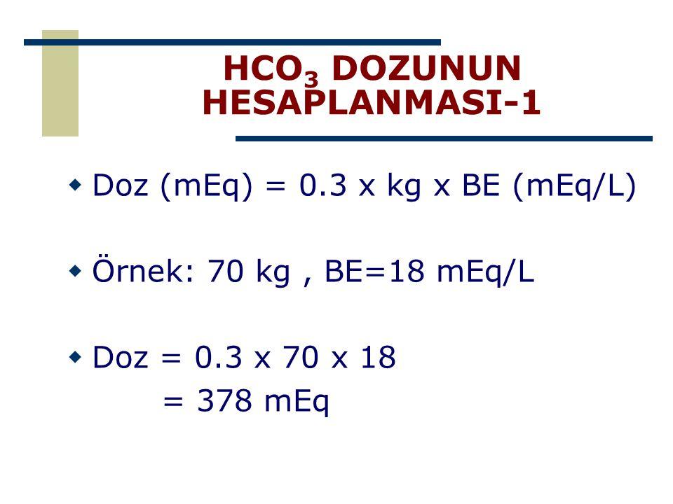 HCO 3 DOZUNUN HESAPLANMASI-1  Doz (mEq) = 0.3 x kg x BE (mEq/L)  Örnek: 70 kg, BE=18 mEq/L  Doz = 0.3 x 70 x 18 = 378 mEq