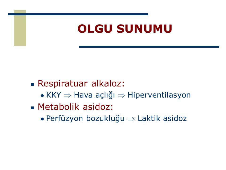OLGU SUNUMU Respiratuar alkaloz: KKY  Hava açlığı  Hiperventilasyon Metabolik asidoz: Perfüzyon bozukluğu  Laktik asidoz